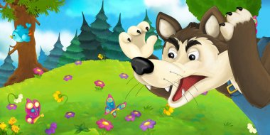 Cartoon scene with wolf on the meadow
