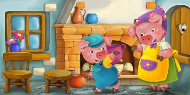 Mother pig with a child in the kitchen