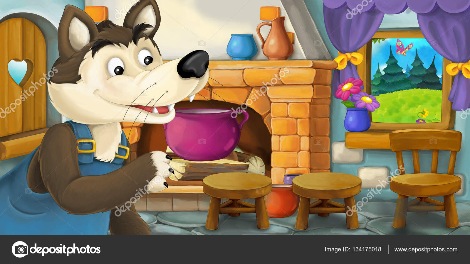 Cartoon scene with wolf in the kitchen illustration for - Cocinas wolf ...