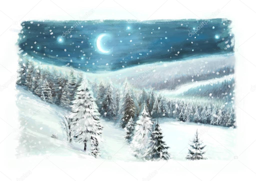 Christmas winter happy scene - illustration for children