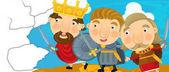 scéna s králem a jeho bojovníci
