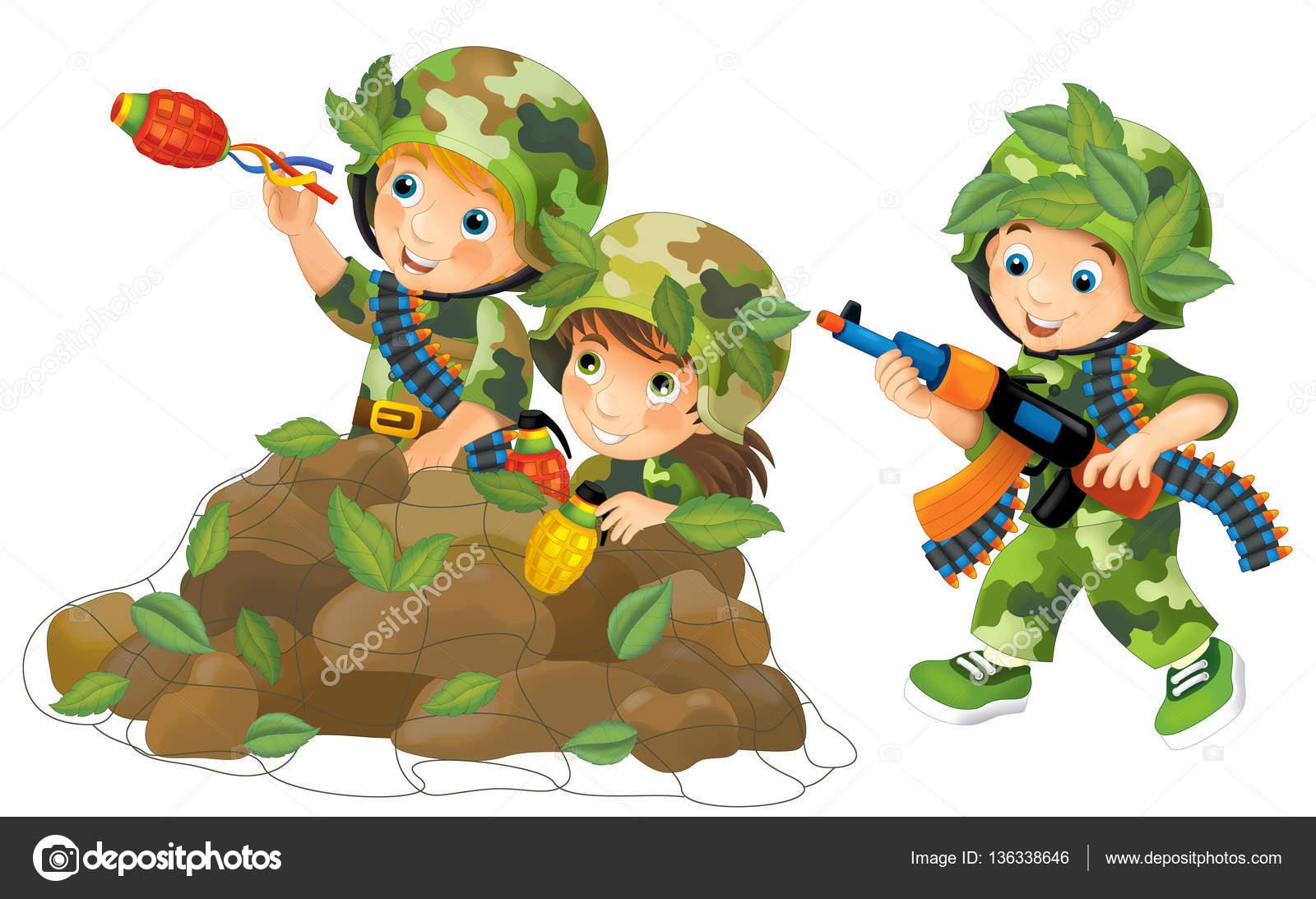 cena de desenho animado com crianças vestidas como soldados jogando