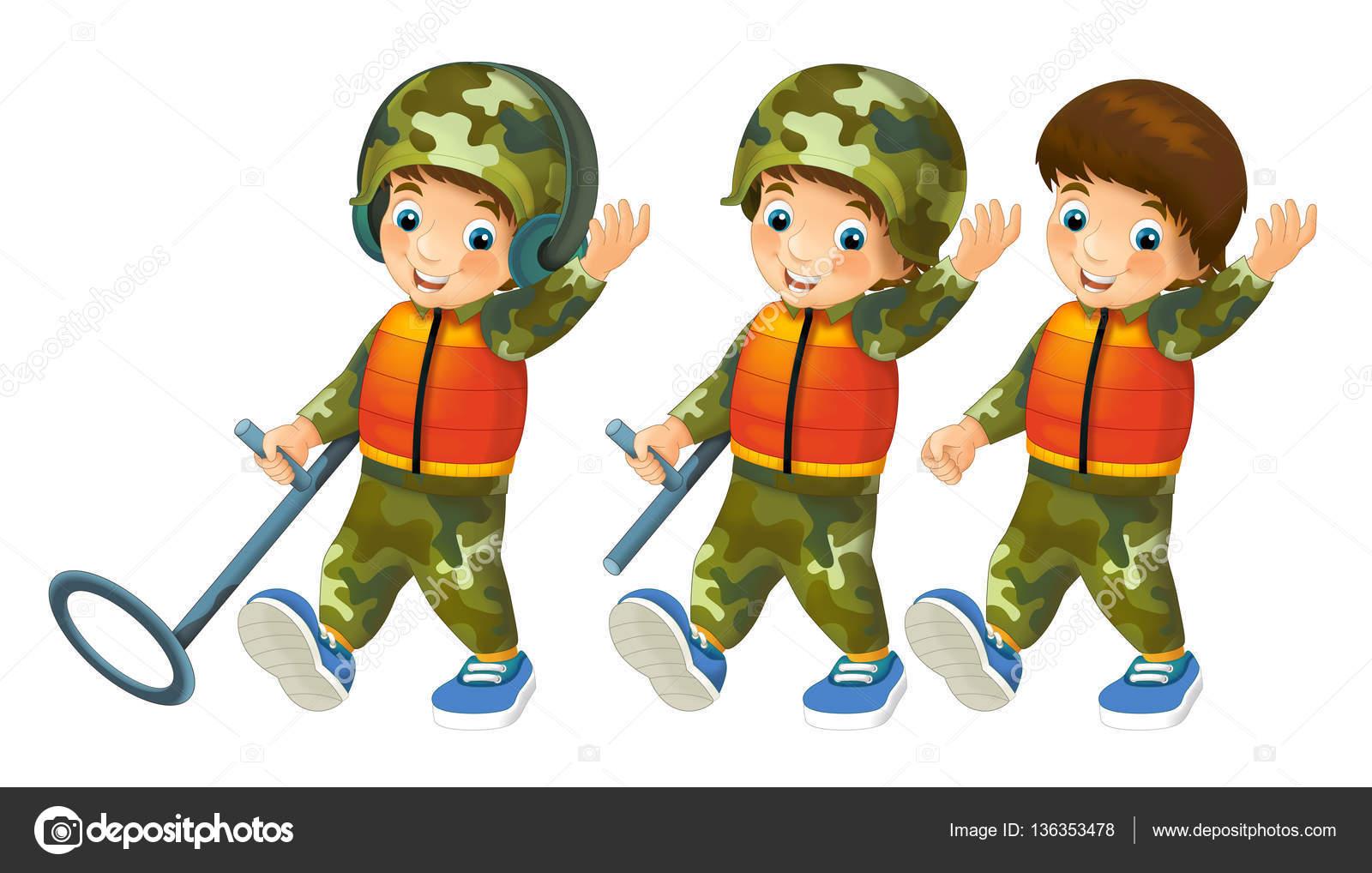 Escena De Dibujos Animados Con Niños Disfrazados De