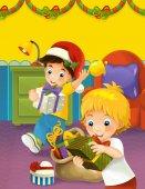 Fényképek A testvérek, hogy boldog karácsonyi jelenet mutatja be - illusztrációja-gyermekeknek