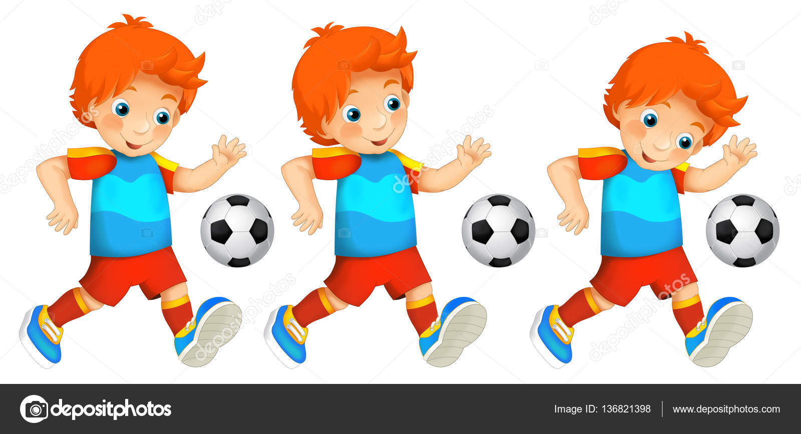 Ilustracin De Dibujos Animados Chico Jugando Al Ftbol Sport