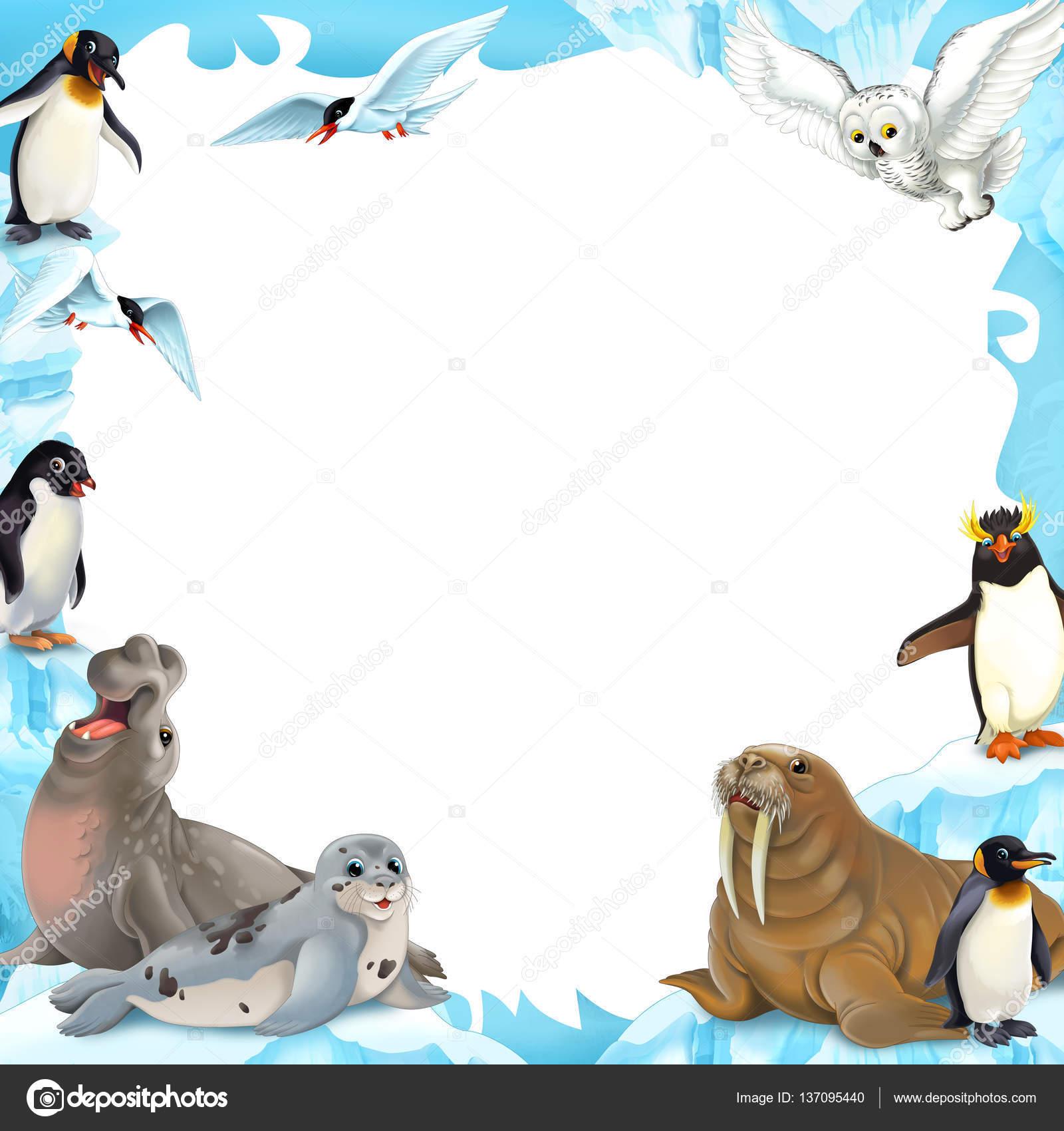 漫画冬フレーム 北極の動物と子供たちのイラスト ストック写真