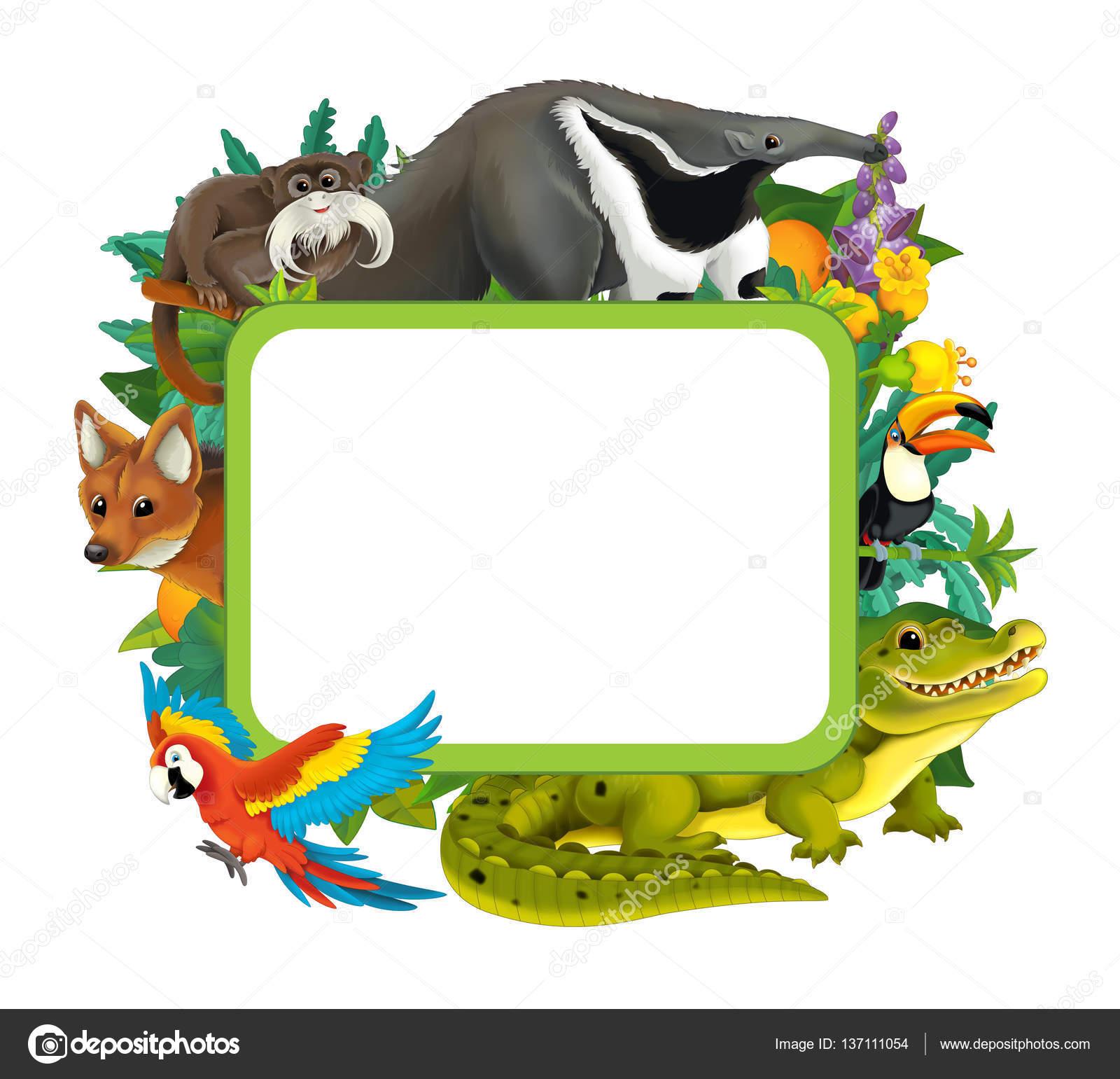 Marco de dibujos animados con diversos animales — Foto de stock ...