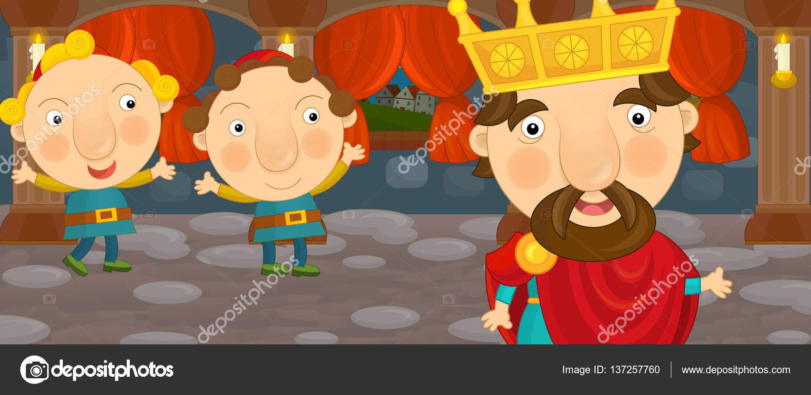 Escena De Dibujos Animados Con Caballero O Rey