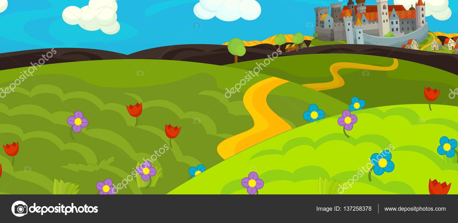 Escena medieval de dibujos animados con el castillo — Foto de stock ...