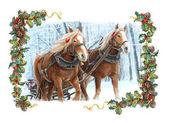 Schlitten mit zwei laufen Pferde