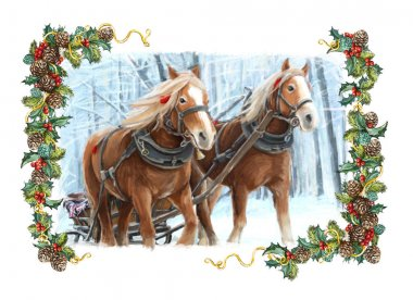 sleigh with two running horses