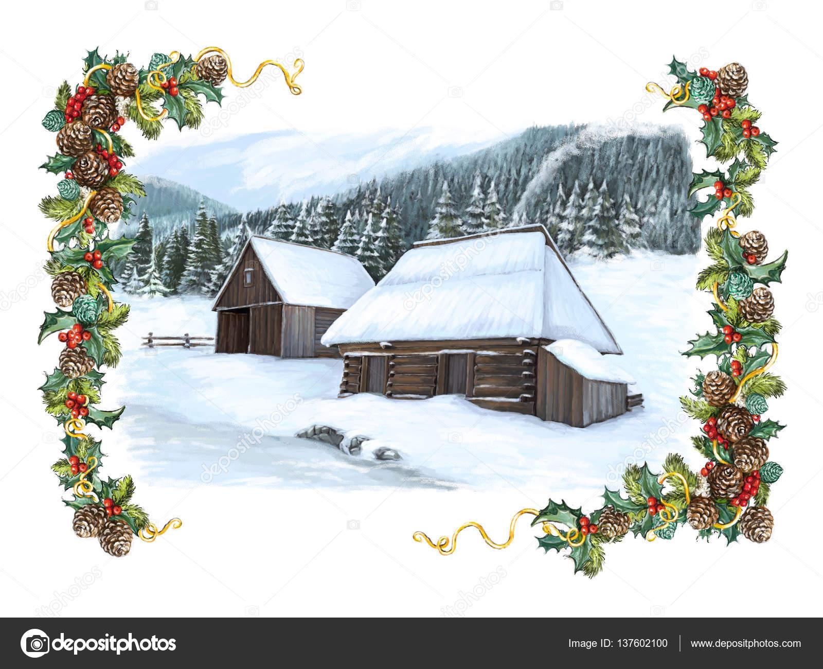 Weihnachten glücklich Winterszene mit Holzhäusern an einem nebligen ...