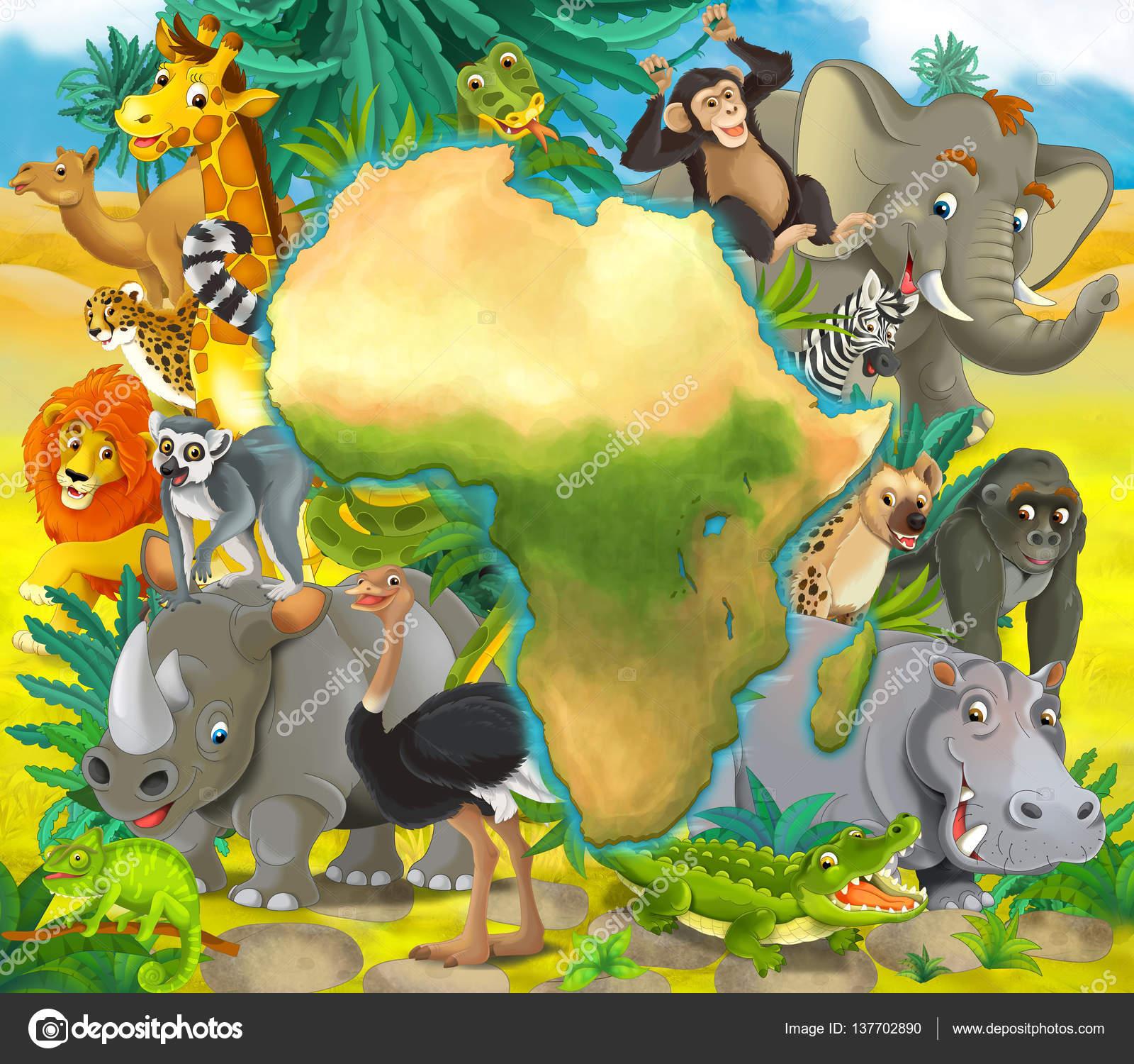 Dibujos animados de animales africanos con la