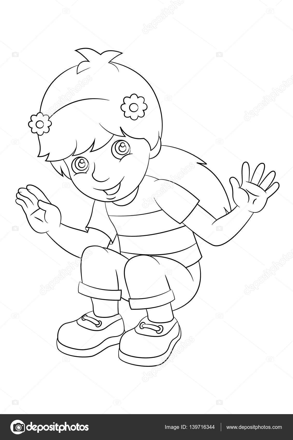 Chica sentada y sonriente ilustración - página para colorear - para ...