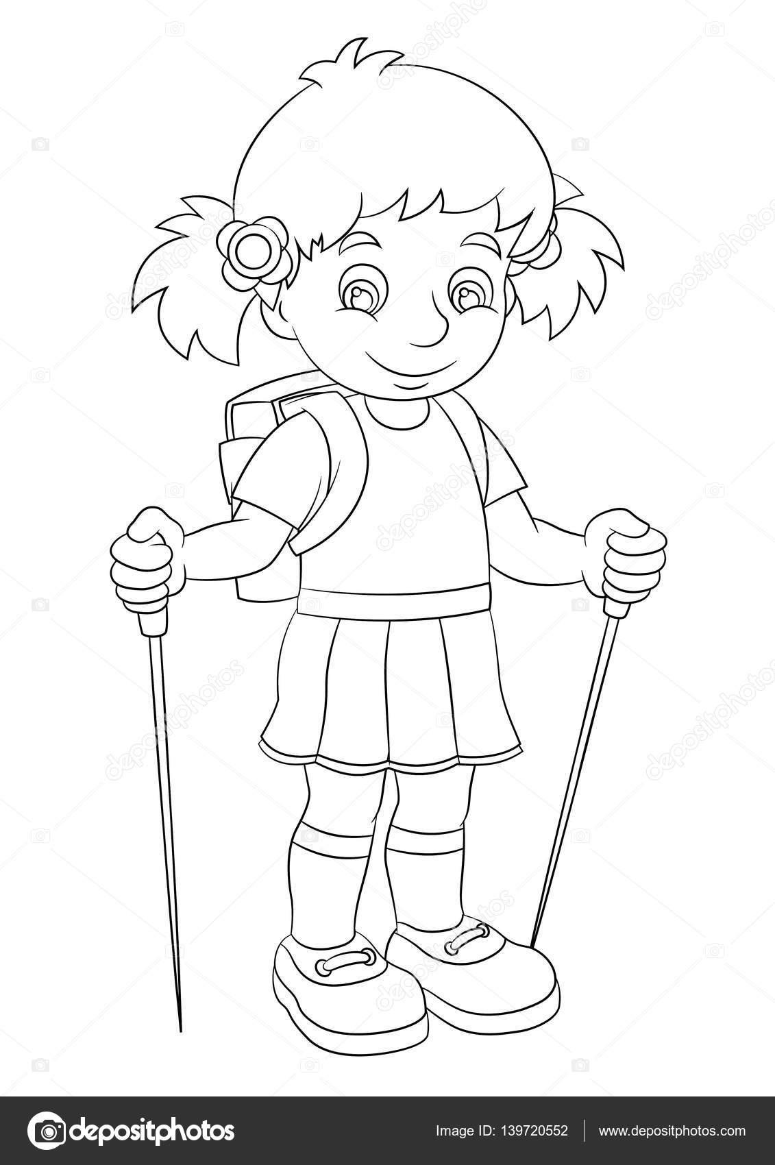 Dibujos Niños Sentados Animados Para Colorear Chica Sentada Y