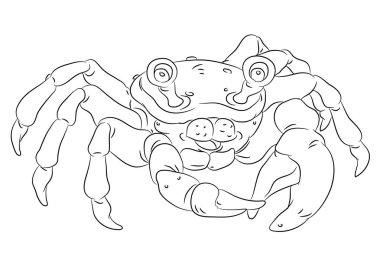 happy smiling cartoon crab coloring page