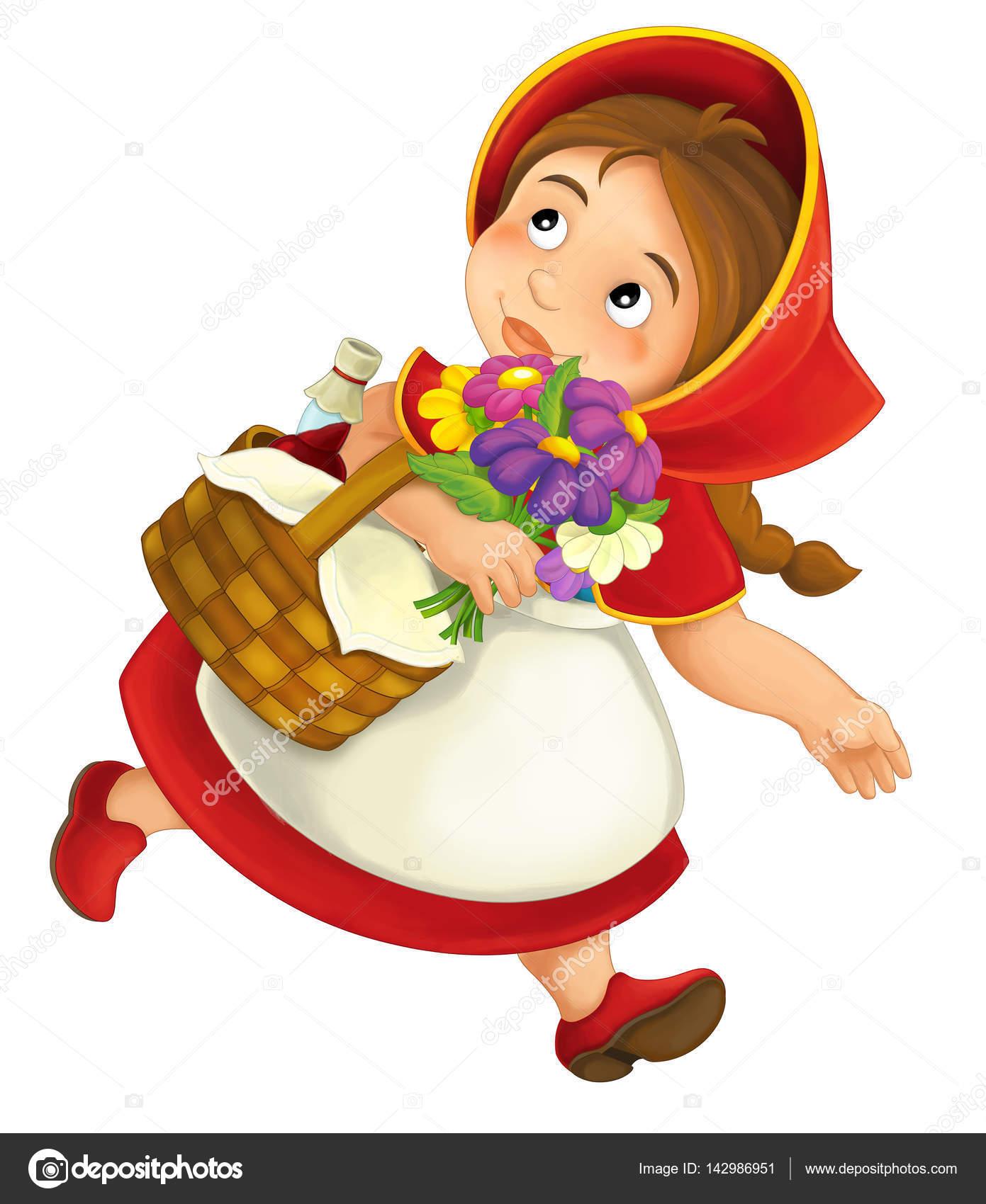 petite fille avec panier repas et fleurs de dessin anim photographie agaes8080 142986951. Black Bedroom Furniture Sets. Home Design Ideas
