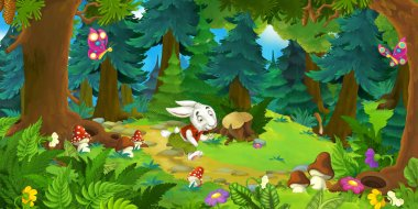 cartoon scene with running rabbit