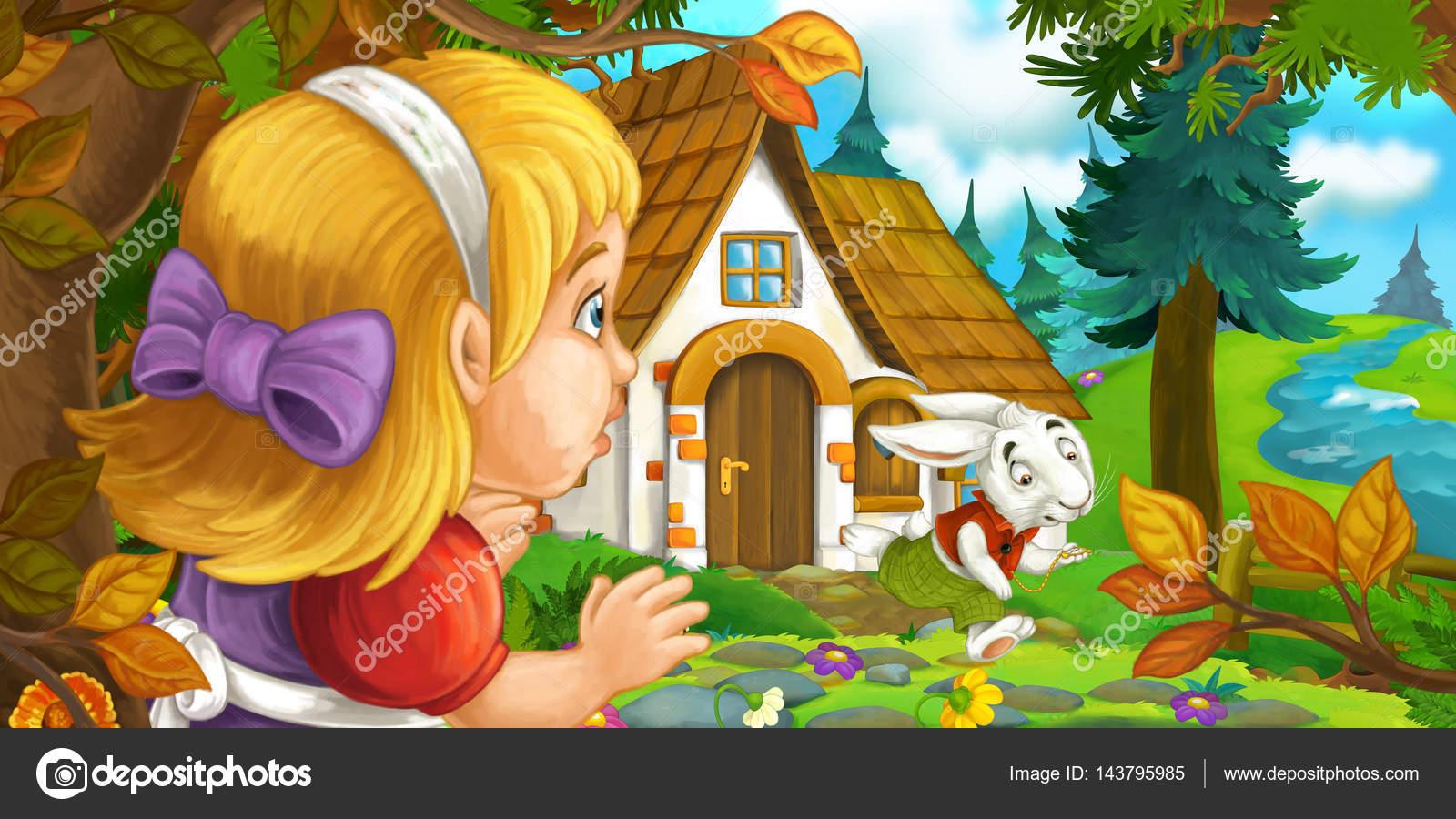 Escena De Dibujos Animados Con Niña En El Bosque