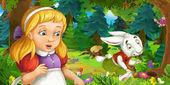 Cartoon scene with young girl in the forest