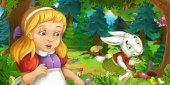 Cartoon-Szene mit jungen Mädchen im Wald
