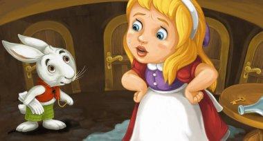 cartoon scene with girl