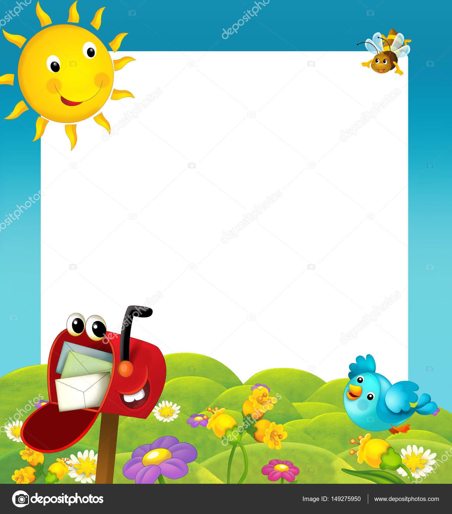 Cartoon-Rahmen mit glücklich Briefkasten — Stockfoto © agaes8080 ...