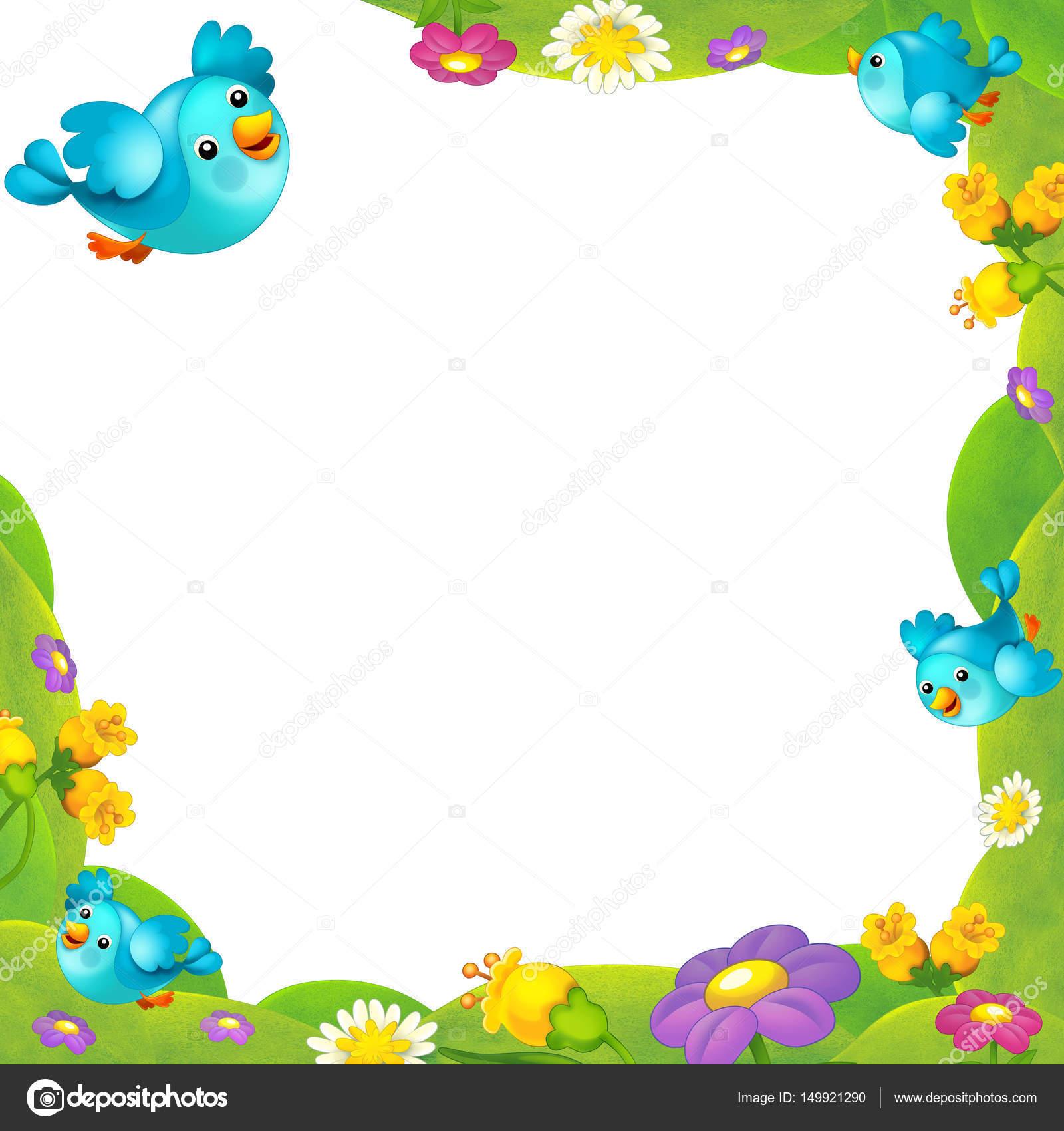 Rahmen mit niedlichen Vögel und Blumen — Stockfoto © agaes8080 ...