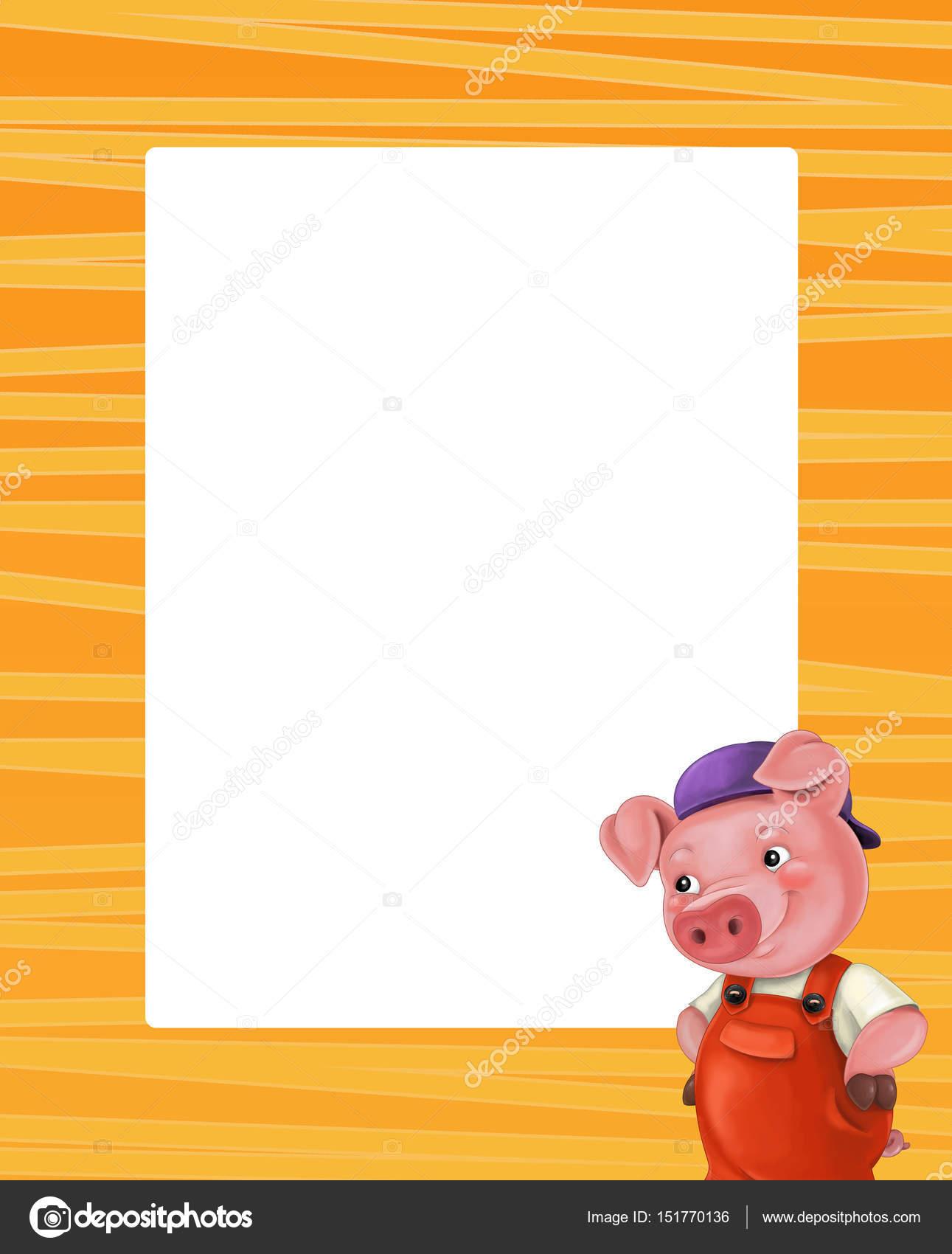 marco de dibujos animados con cerdo lindo — Fotos de Stock ...