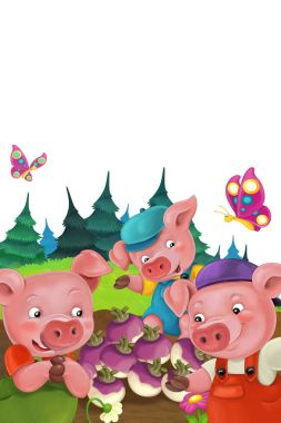 Illustration with little pigs charachters
