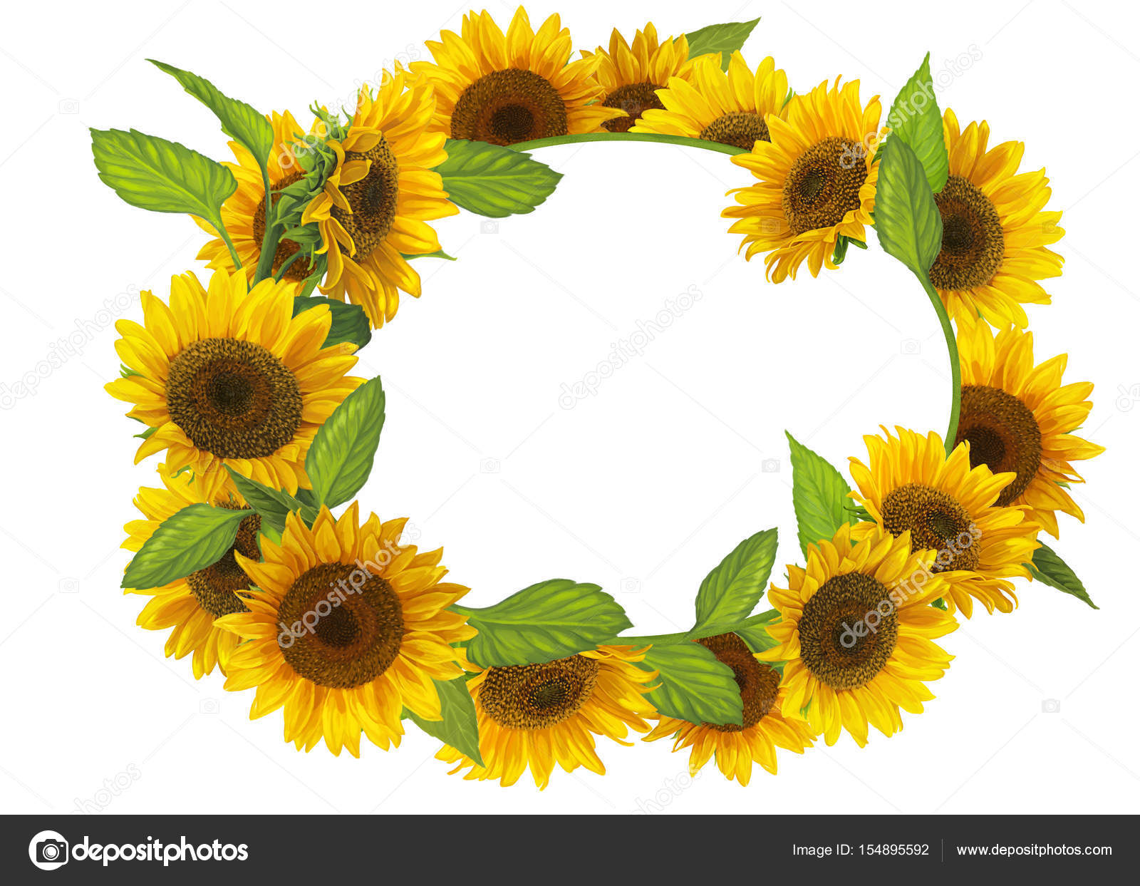 Cartoon Colorful Sunflowers Frame Stock Photo