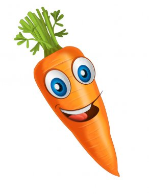 Cartoon vegetable smiling and looking carrot. Vector llustration for children stock vector