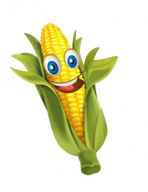 Cartoon vegetable smiling and looking corn. Vector llustration for children stock vector