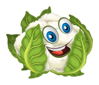 Cartoon vegetable smiling and looking cauliflower. Vector llustration for children stock vector