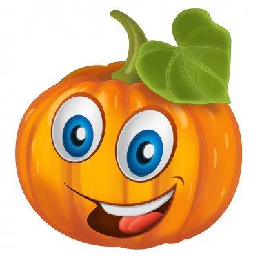 Cartoon vegetable smiling and looking pumpkin. Vector llustration for children stock vector
