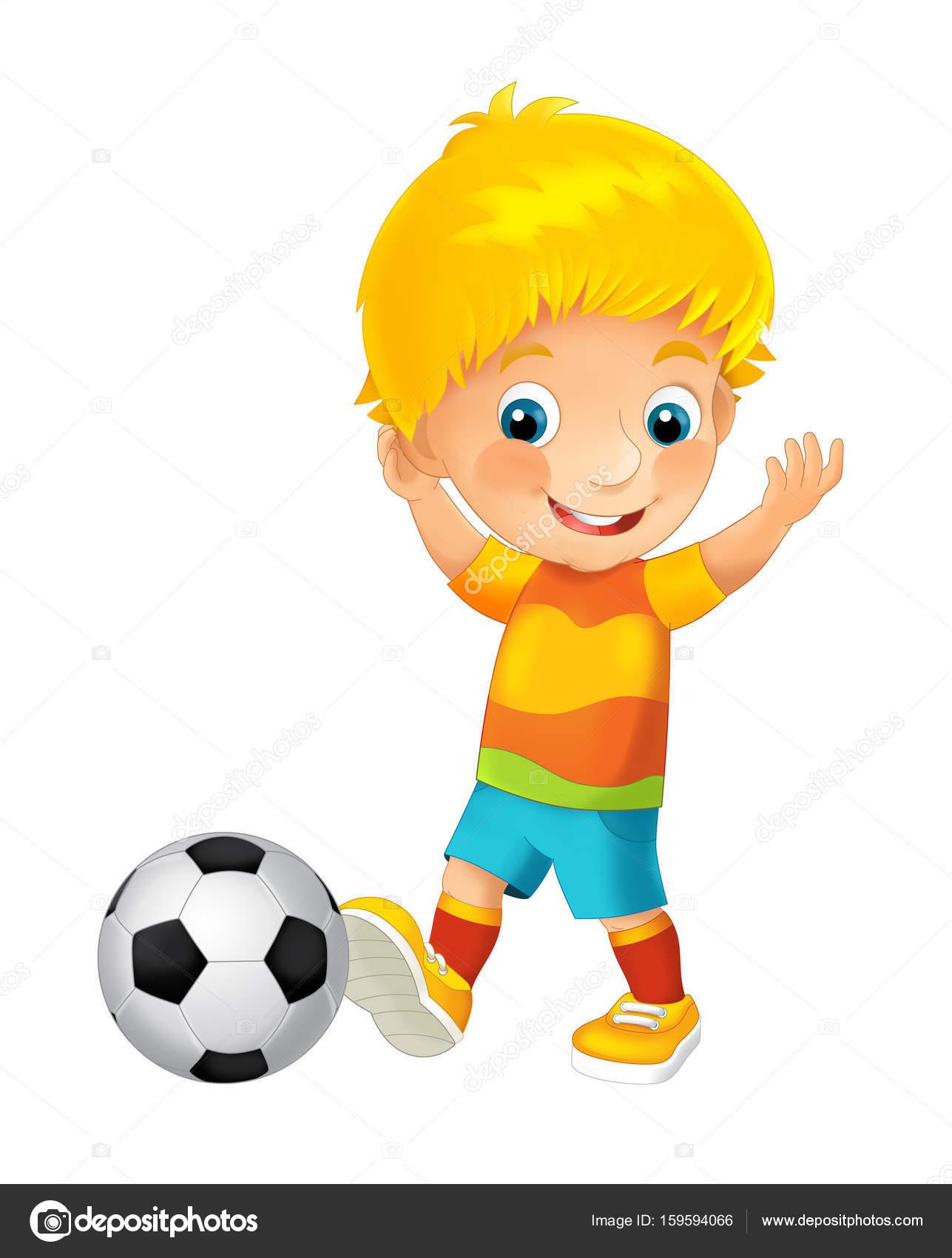Cartoon Boy Playing Football Stock Photo