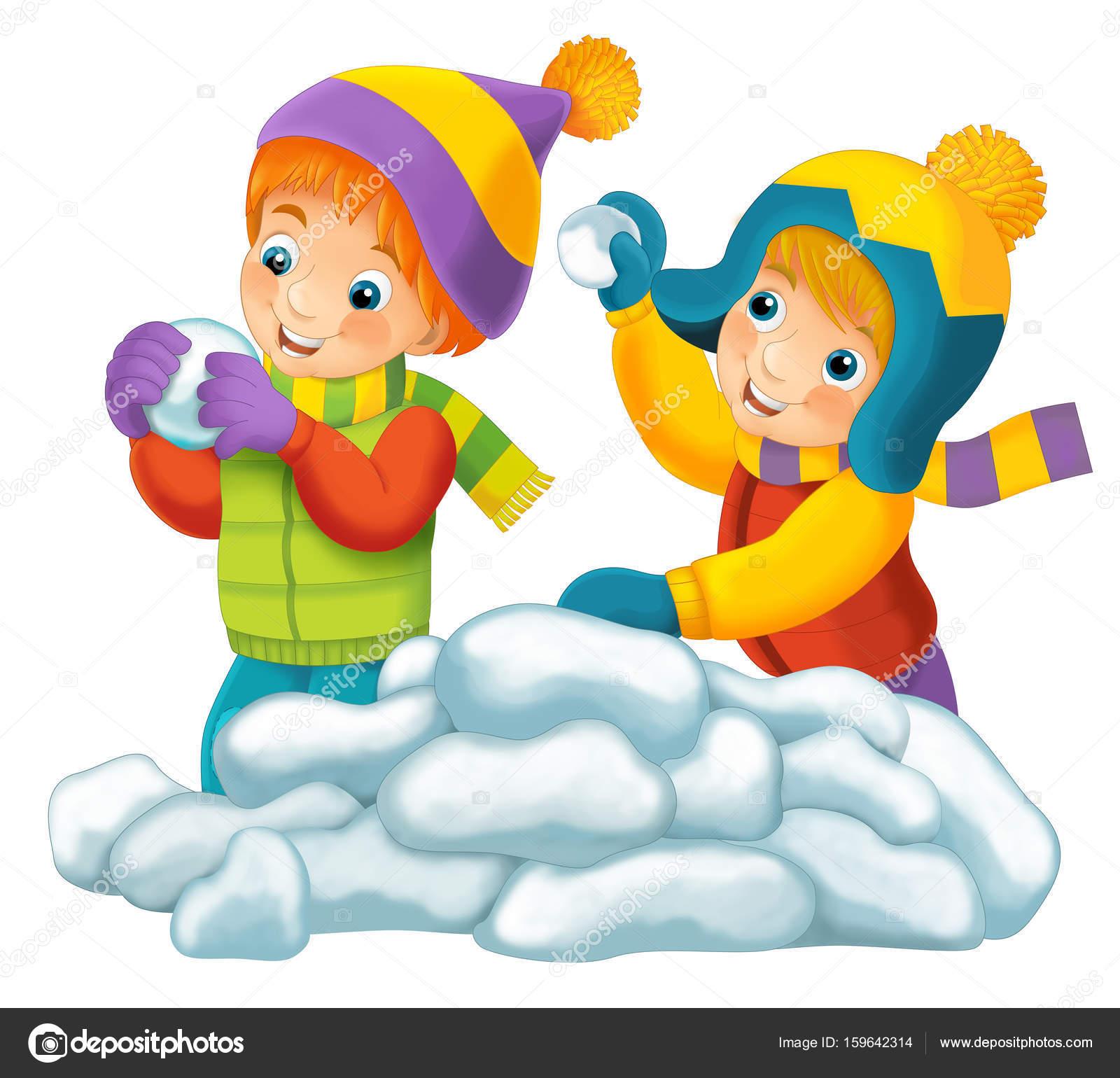 Escena De Dibujos Animados Con Los Ninos Jugando Con Nieve Fotos