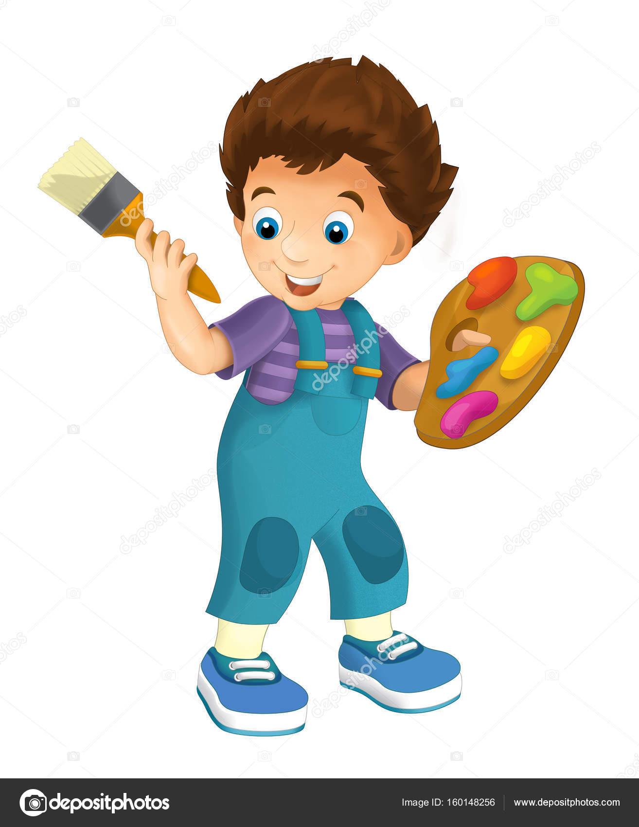 dibujos animados niño con paleta pincel y color — Fotos de Stock ...