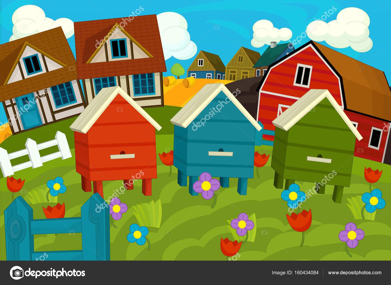 30d32c3dd8bf Cartoon ξύλινα σπίτια και το πεδίο — Φωτογραφία Αρχείου © agaes8080 ...