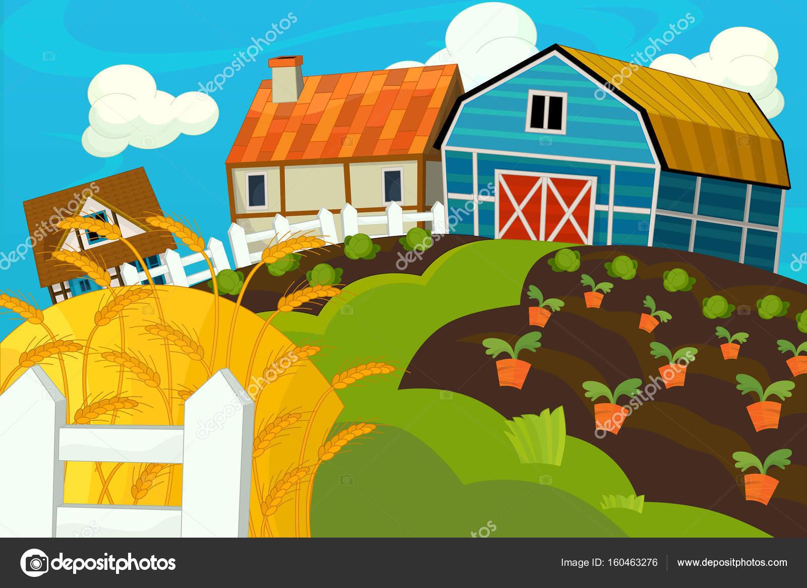 Granja De Dibujos Animados Con Casas De Madera