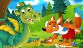 drak na trávníku s Liškou