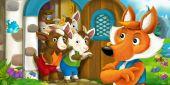 Photo cartoon fox with goats