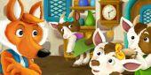 Fotografie kreslený fox s kozami v domě