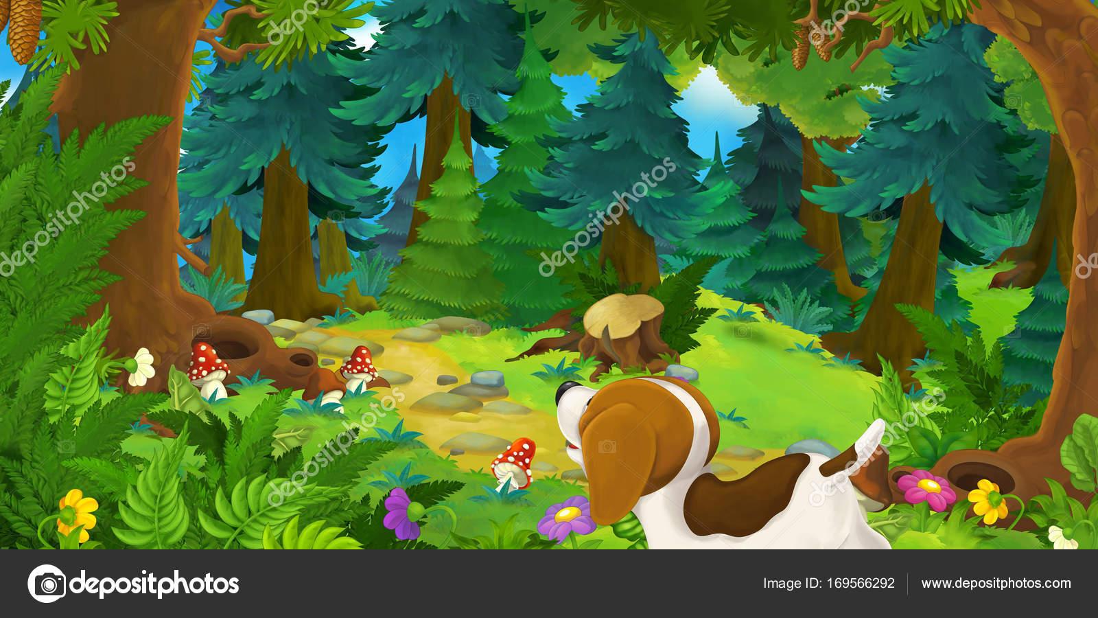 森のかわいい犬 子供用のカラフルなイラストと漫画のシーン ストック