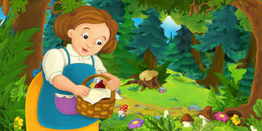 cartoon scene with cute girl with basket walking in forest, colorful illustration for children