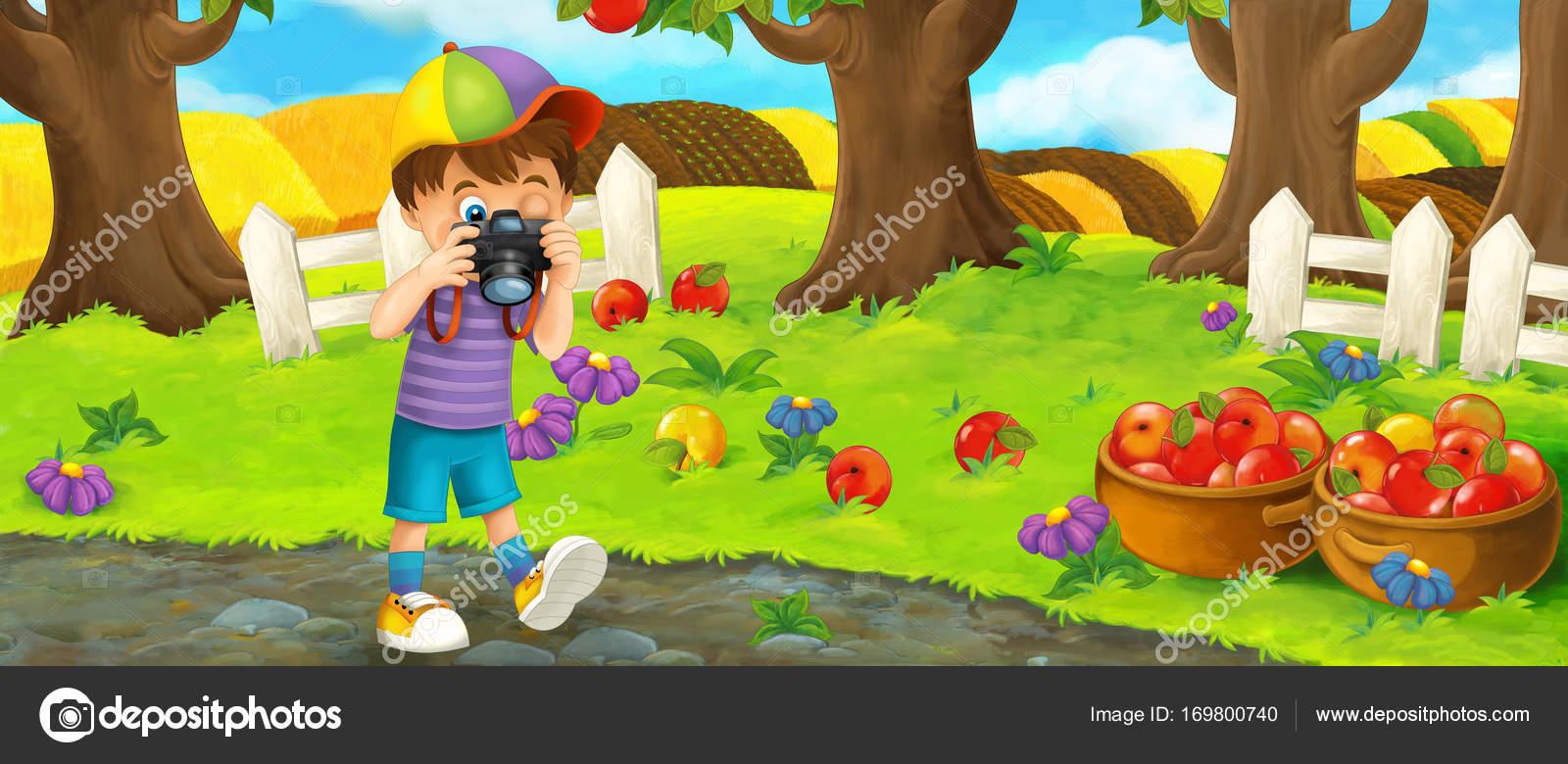 Cartoon Szene Mit Dem Kleinen Jungen Fotografen Sommer Garten Bunte ...