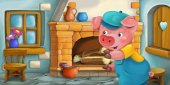 cartoon scene of pig in kitchen, colorful illustration for children