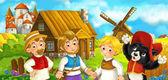 Fotografie kreslený scény s středověké zemědělců a kočka stojí dohromady a usměvavý, krásný hrad v pozadí, barevné ilustrace pro děti