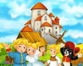 kreslený scény s středověké zemědělců a kočka stojí dohromady a usměvavý, krásný hrad v pozadí, barevné ilustrace pro děti