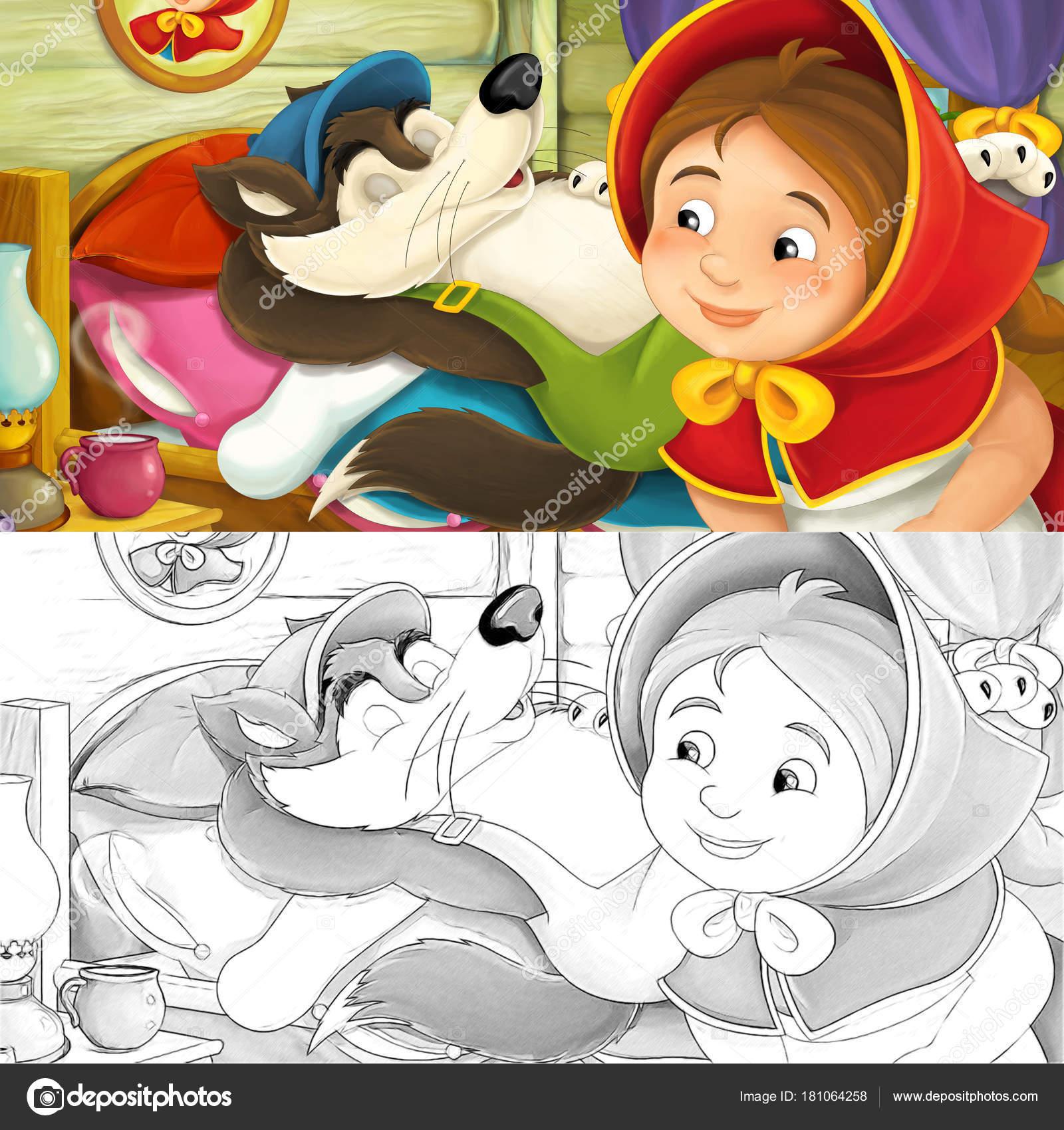 Escena Dibujos Animados Con Chica Lobo Ilustración Para Niños — Foto ...